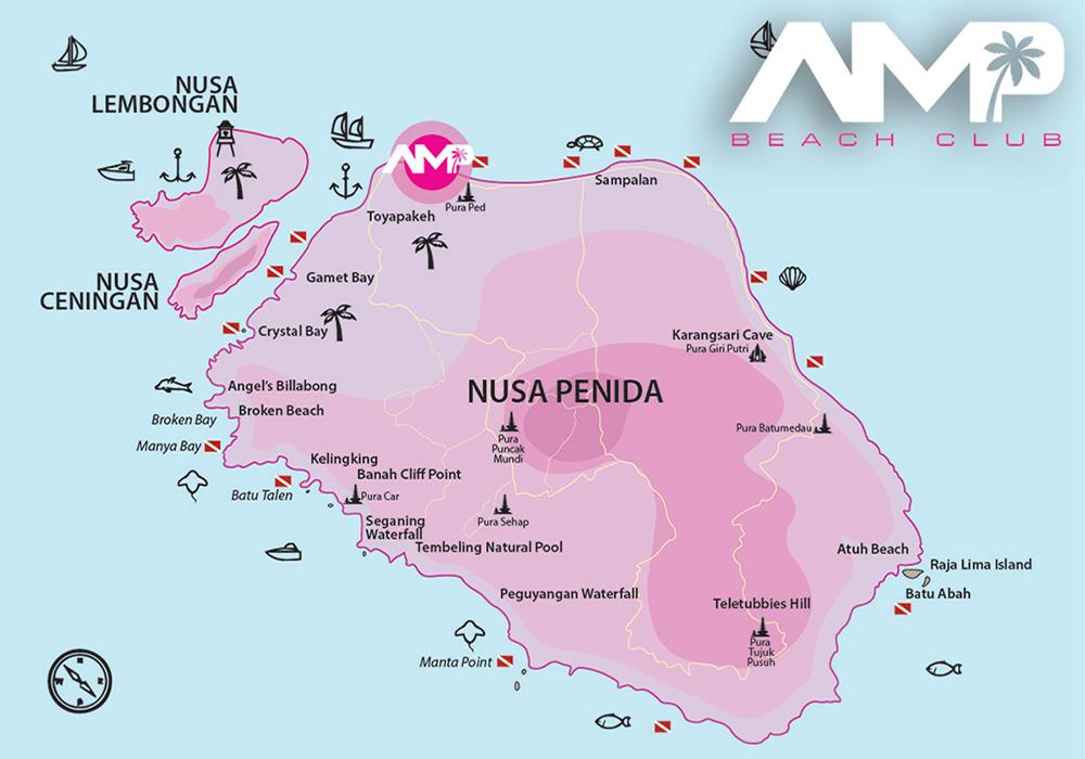 Penida Cruise Map, AMP Beachclub